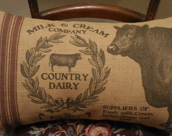 Feedsack Cow Burlap Pillow, 13 x 21 Lumbar pillow,  Shabby Chic,  Farmhouse Pillows,  INSERT INCLUDED