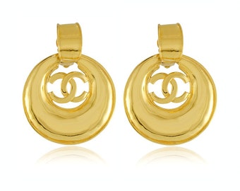 Authentic CHANEL Vintage Oversized CC Hoop Dangle Earrings Signed 93P Spring Season