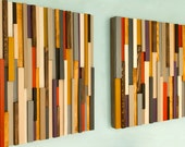 "Reclaimed Wood art, modern wood art 3D, set of 2 in size 20"" x 20"""