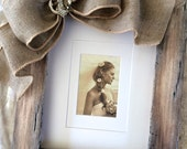 Beach Wedding Picture Frame 8x10 Burlap Bow Family Portrait Child Vacation Wood Rustic Ocean Personalize