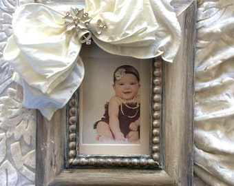 Christmas Frame Baby Child Family Bow Holiday Jewel Neutral Ivory Bling Personalize White Christmas Gift