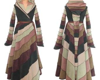 6 Tone full length Fleece 'Tournedot' Jacket(length 7). 24 stripe ultimate pixie hood / 12 stripe sidhe sleeves. Skirt part swirling 1/2+1/2