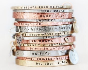 Gift for Her / Gift / Graduation Gift / Unique Gift / Mantra Bangle / Inspirational / Inspiring Gift / For Her / Positive Jewelry