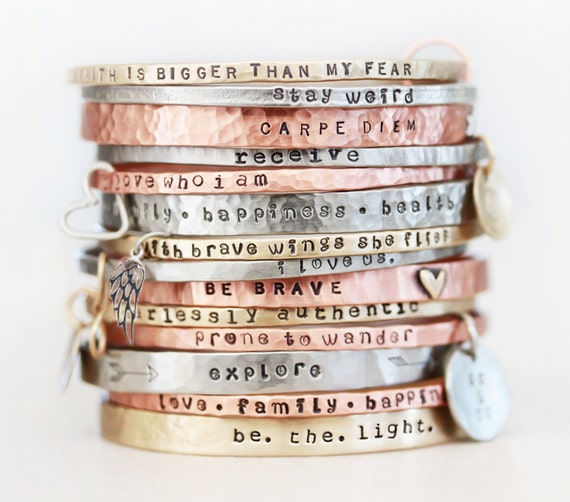 Gift / Gift for Her / ONE BlessingBand / Mantra Bangle / Power Phrase Bracelet / Gift for Her / Unique Gift / Positive Jewelry