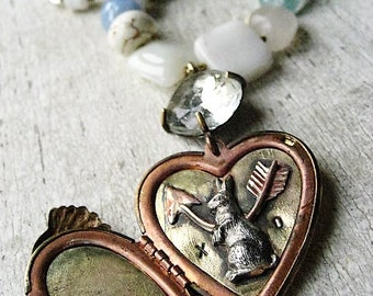 Brass Heart  Locket with Custom Stamped Message and Cool Rabbit and Arrow Surprise Detail