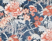 Retro Wallpaper by the Yard 70s Vintage Wallpaper - 1970s Red and Gray Floral on Navy Blue