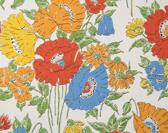 Retro Wallpaper by the Yard 70s Vintage Wallpaper – 1970s Blue Yellow Red and Orange Poppies on White