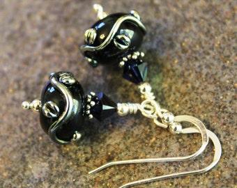 Midnight Blue Silver Vine Art Glass Earrings - Sterling Silver - Lampwork Earrings - Artisan Earrings - Unique Jewelry - Women's Gift