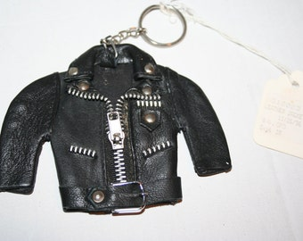 Black Leather Motorcycle Jacket Keychain