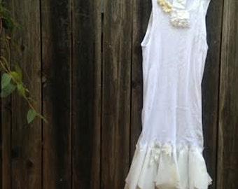 CUSTOM example shabby  white shabby boho simple fairy eco anthropologie like cotton lace awesome boho girl gypsy ooak tee tank dress tunic