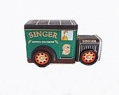Vintage Singer Sewing Machine Truck, Sewing Notions, Vintage Tin, Sewing Storage, Singer Sewing Machine Tin, Seamstress Decor Accessories