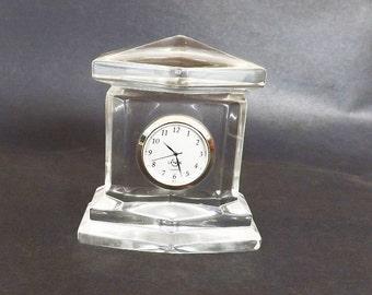 Vintage Lenox Clock with Lead Crystal, Decorative Clock, Glass Crystal Clock, Home Decor, Designer Signed, Quartz Clock, Vintage Decor
