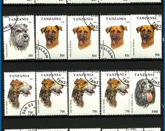 Dog breeds, collectable stamps from Tanzania, scrapbooking embellishment