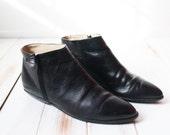 Size 10 M Etienne Aigner Black Genuine Leather Pointy Booties Minimalist Modern