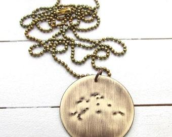 Aquarius Necklace   Constellation Necklace   Zodiac Necklace   Water   Astronomy Jewelry   Constellation Jewelry   Rustic Antiqued Brass