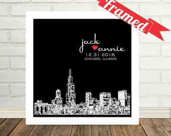 Personalized Skyline Custom Wedding Gift FRAMED ART Print Any City Available Wedding Gifts Personalized Engagement Gifts Personalized