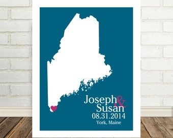 Maine Map Maine Poster Maine Print Wedding Guest Book State Map Art Newlywed Gifts for Couples Newly Engaged Gift Valentines Day Gift