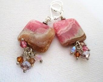 Rhodochrosite Pillow Bead Earrings