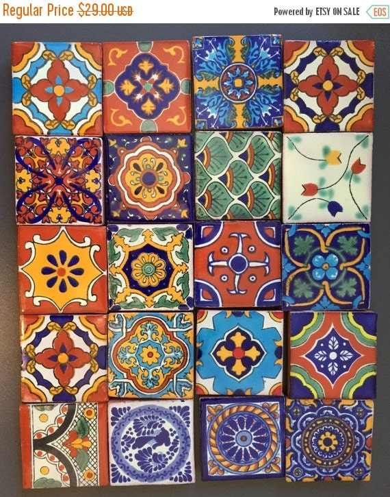 "ON SALE Fridge Magnets Talavera ceramic Fridge Magnets 2"" square tiles  (set of 6)"
