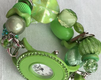 PRE~HOLIDAY SALE!!! Green Stretchy Chunky Beaded Interchangeable Watch Band