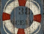 Küsten / nautischen Rettungsring, 8 x 8 druckbare Kunst