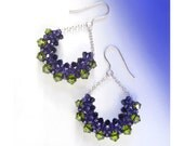 Purple Olive Green Crescent Drop Earrings with Sterling Silver / Half Circle Crystal Drop Earrings / Semi Circle Earrings