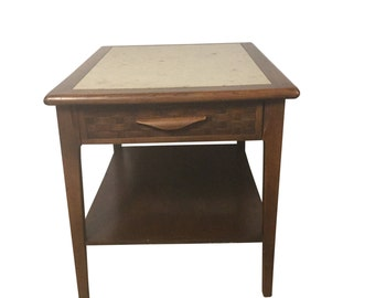 Mid Century Modern End Table with Travertine Top