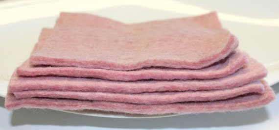 Thick Handmade 100% Pure Wool Felt REMNANTS in Dusty Pink Artisan Made Pure Wool From Nepal Hand Dyed Wool Felt