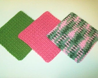 Dishcloths Set - Pink Camo - Set of 3 in Pink Camo, Rose Pink, and Sage Green