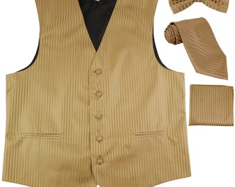 Men's Vertical Striped Mocca Brown Polyester Tuxedo Vest with Self Tie Necktie, Pre-Tied Bowtie, & Handkerchief, for Formal Occasions (625)