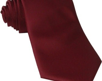 Men's Solid Burgundy Big & Tall Extra Long Necktie, for Formal Occasions