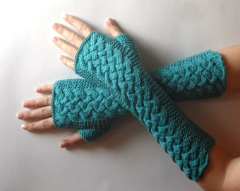 Silk Cashmere Fingerless Gloves Turquoise Knit Arm Warmers Women's Hand Warmers Fingerless Gloves Wrist Warmers - KG0079 - Aimarro