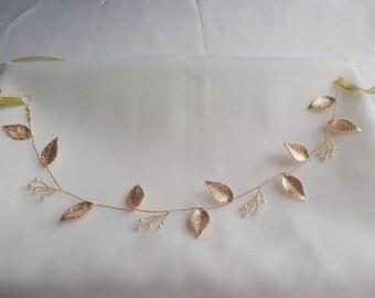 Bridal Twisted Wire Tiara, Mini Crown, Pearl, Bridal Headpiece, Bridal Leaf Hair Vine