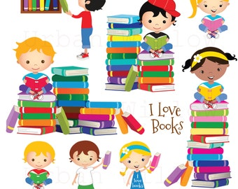 Clip art school kids, Clip art Books, Reading Clipart, Cute Library Clipart, Graphics Kids and Books, Education Clipart