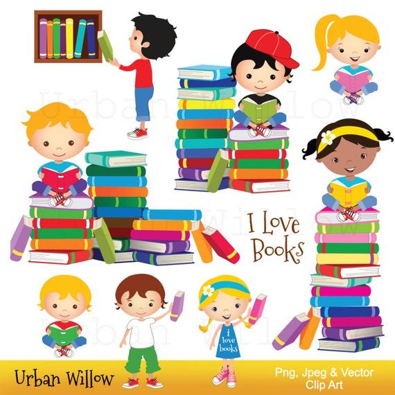 Bücherei clipart  Clip Art Schulkinder Bücher lesen Clipart niedliche