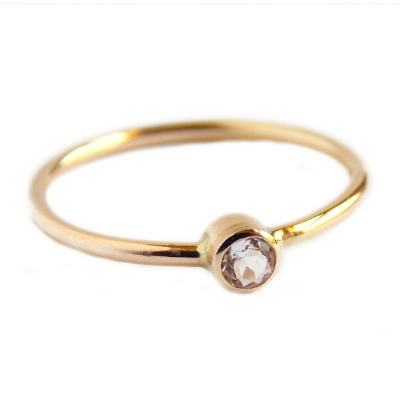 simple white sapphire ring 14k gold filled ring white