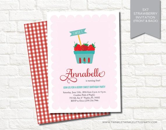 Strawberry Picnic Summer Birthday Party Digital Invitation
