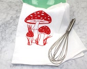 Mushroom Tea Towel - Screen Printed Flour Sack Towel - Cotton Tea Towel - Botanical - Handmade - Eco Friendly Kitchen Towel - Toadstool