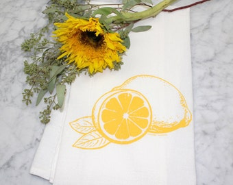 Tea Towel - Lemon - Screen Printed Flour Sack Towel - Dish Towel - Citrus - Cotton Kitchen Towel - Mothers Day Gift