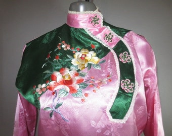 SALE SALE SALE***1950's Chinese Pajamas // Lounging P.J.'s // Embroidery, Pink Green Satin Brocade