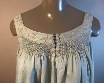 SALE***Liberty & Co. Silk Victorian Blouse // Metallic Fringe on Bottom // Smocked Bodice // Covered Buttons // Embroidery