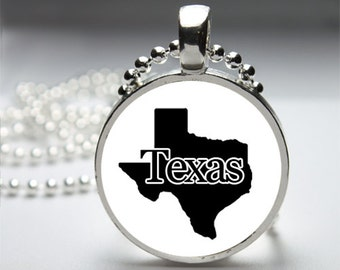 Texas Round Pendant Necklace with Silver Ball or Snake Chain Necklace or Key Ring