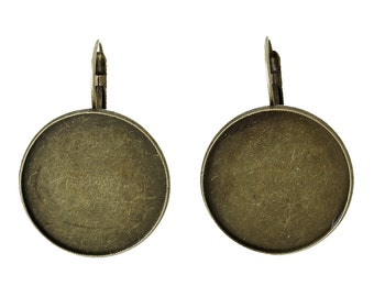 10 (5 pairs) bronze cabochon bezel setting lever back earring components, fits 25mm round inside tray, fin0577