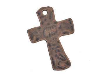 Copper cross pendant etsy 4 hammered copper cross pendant charms oxidized copper large 1 34 aloadofball Choice Image