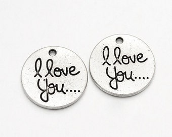 10 I Love You.... Pendant Charms, silver circle disc charms, silver tone metal,  20mm, chs2190