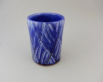 Pottery 16 oz Cup  - Blue Ceramic Tumbler
