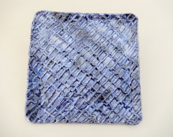 Matzah Plate - Square Blue Earthenware Hand Carved Plate