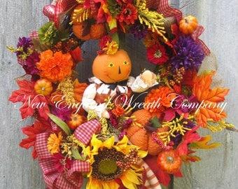 Fall Wreath, Autumn Wreath, Harvest Decor, Halloween Wreath, Thanksgiving Wreath, Pumpkin Wreath, Whimsical Fall Wreath, Sunflower Wreath