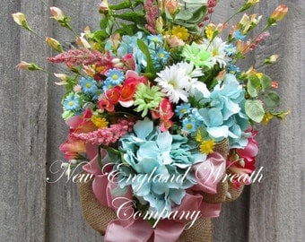Floral Wreath, Floral Swag, Floral Wall Bouquet, Country French Wreath, Elegant Garden Bouquet, Designer Wreath, Mother's Day Gift