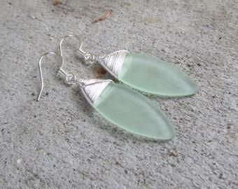 light green sea glass ear rings Beach Glass  jewelry  earrings-bridesmaid earrings- leaf  earrings